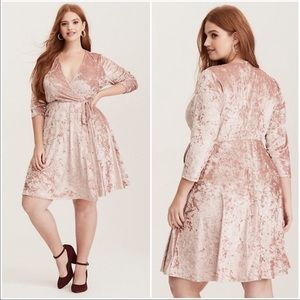 Torrid Blush Pink Crushed Velvet Wrap Dress